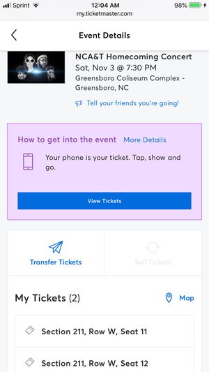 NC A&T homecoming concert tickets (2) for Sale in Cary, NC