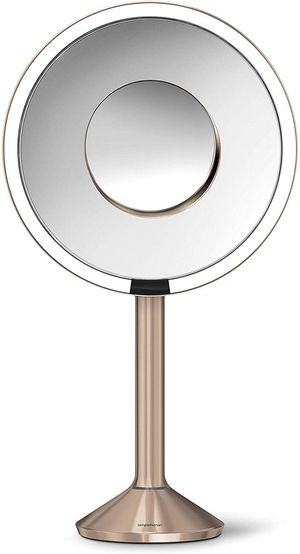 "simplehuman Sensor Lighted Makeup Vanity Mirror Pro 8"" Round, 5X + 10x Dual Magnification, Rose Gold for Sale in Orlando, FL"