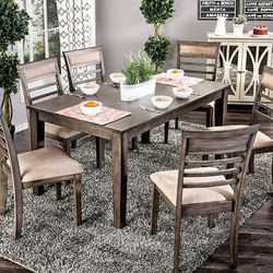 WEATHERED GRAY BEIGE 7 PIECE DINING TABLE SET - MESA COMEDOR SILLAS WEATHERED GRAY BEIGE 7 PIECE DINING TABLE SET - MESA COMEDOR SILLAS for Sale in Pico Rivera,  CA