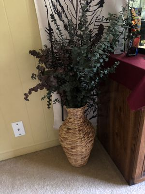 Faux Eucalyptus in woven basket vase for Sale in Upland, CA