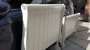 Twin Headboard & Footboard Sleigh Style Bone Finish Oak Wood for Sale, used for sale  Queens, NY