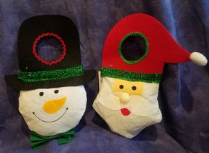 Christmas House Santa Claus and Snowman Door Knob Hangers for Sale in Walnut, CA