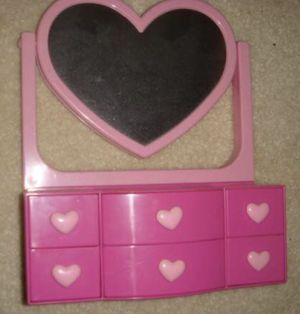 kids girls mirrored heart jewelry box toy dress up toy play for Sale in Evesham Township, NJ