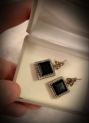 PRINCESS CUT MIDNIGHT SAPPHIRE DANGLE FINE ART EARRINGS Solid 925 Sterling Silver/Gold WOW! Brilliant Facet Gems, Diamond Topaz M9376 V for Sale in San Diego, CA