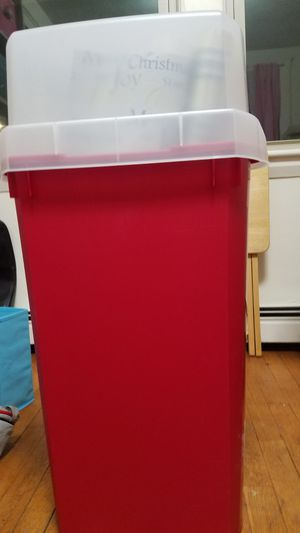 Tall gift wrap storage container with cover for Sale in Waltham, MA