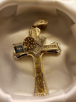 Cross with 3 earrings all 14k with diamonds for Sale in Riverdale, MD