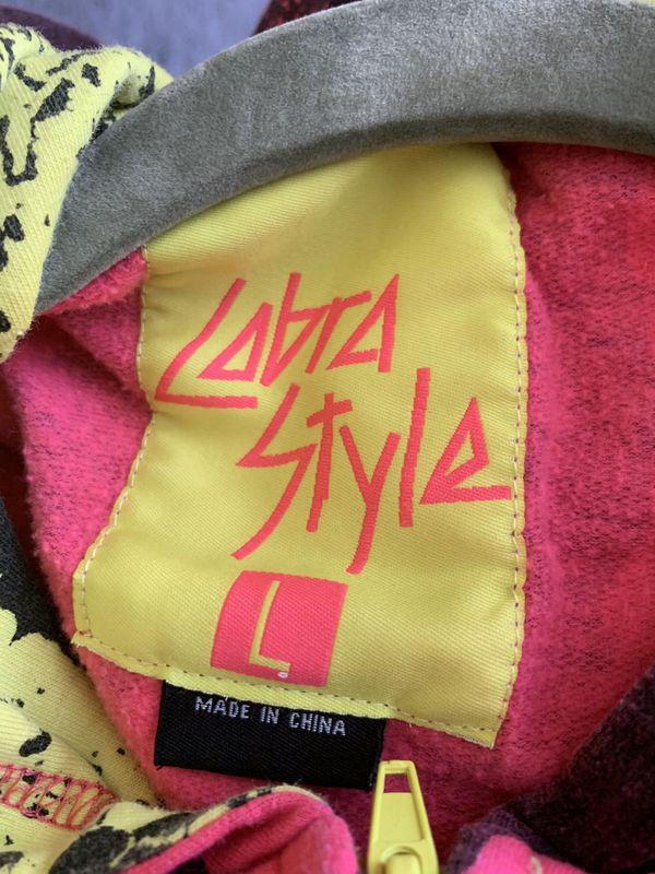 Cobrastarship Neon pink and yellow striped hoodie