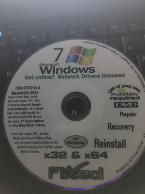Windows 7 reinstall disk for Sale in Uxbridge, MA