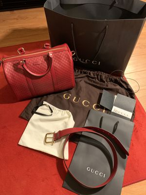Gucci Bag Microguccissima Red & Belt Package for Sale in Moreno Valley, CA