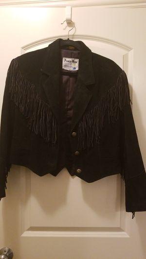 Black leather suede fringe jacket for Sale in Columbus, OH