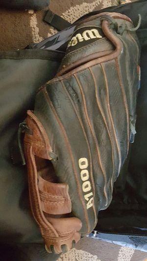 Eston bag 2 eston bats 1 eston helmet 1 a1000 glove and 1 Rawlings Golden Glove for Sale in Bristol, PA