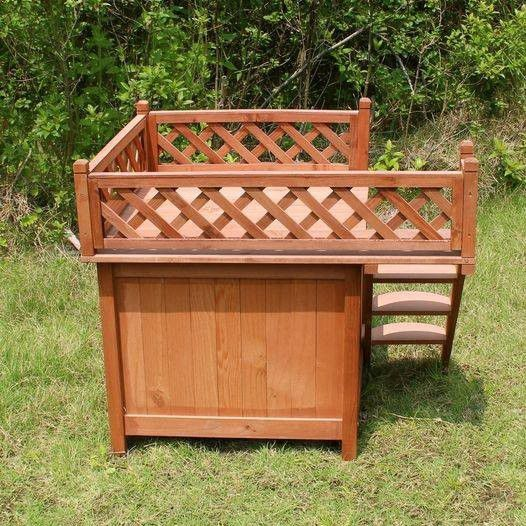 Wooden Dog House For Small Dogs - Cedar Stain Durable Good Quality