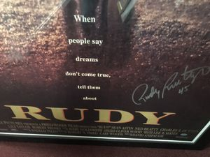 """Autographed Rudy Ruttiger Movie Poster, signed by the Original """"Rudy""""! 24x36""""! Original Movie Poster! for Sale in Fairfax, VA"""