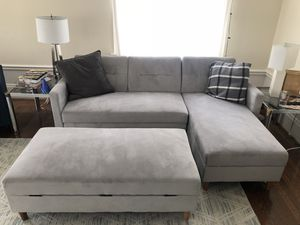 Light gray sleeper sofa and ottoman (available for pickup August 15-29) for Sale in San Francisco, CA