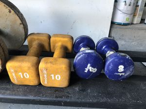10 and 8lbs rubber dumbbells for Sale in Tampa, FL