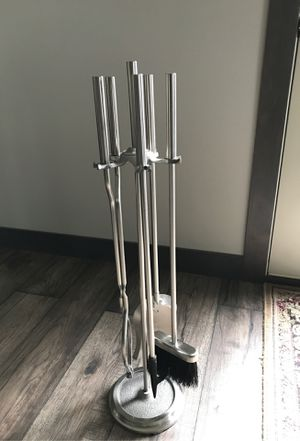 Brushed Steel Finish 4 Piece Tool Fireplace Tool Set for Sale in Eau Claire, WI