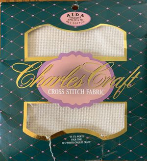 """Charles Craft Ivory Cross Stitch Aida Cloth 14 count 12"""" x 18"""" All Cotton for Sale in PA, US"""