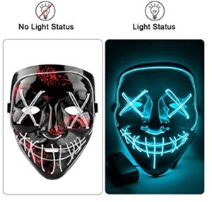 Halloween Scary Mask - Halloween LED Light Up Scary Mask with EL Wire for Halloween Festival Decoration Cosplay Costume for Sale in Travelers Rest, SC