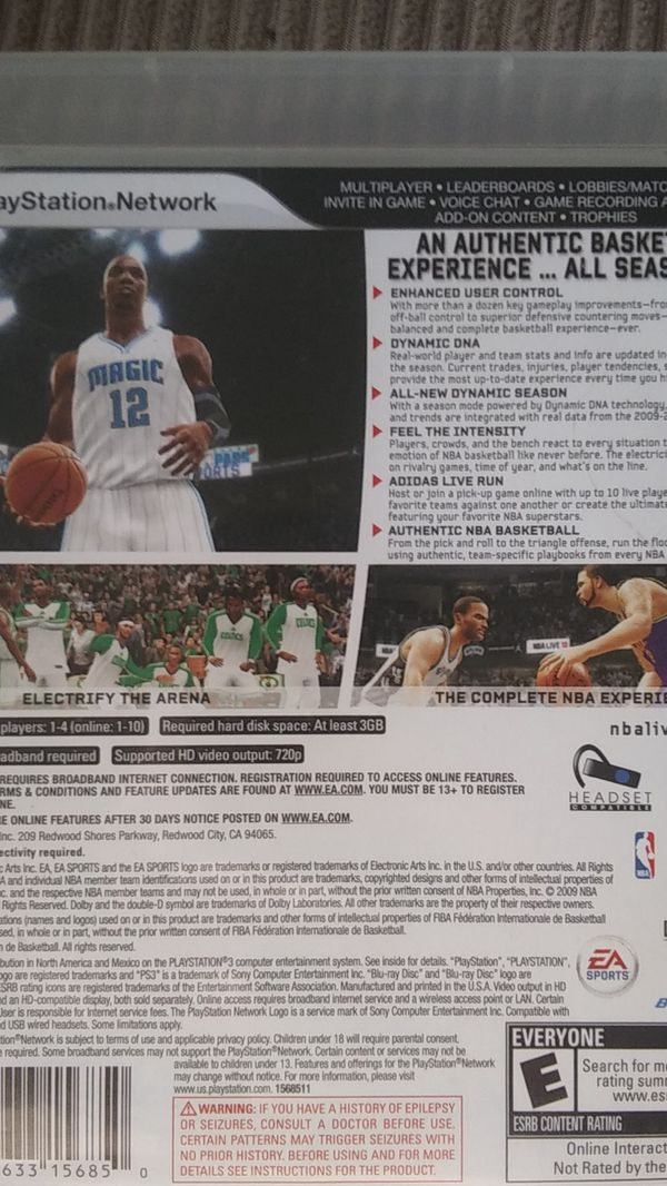 NBA Live 10 PS3 Video Game
