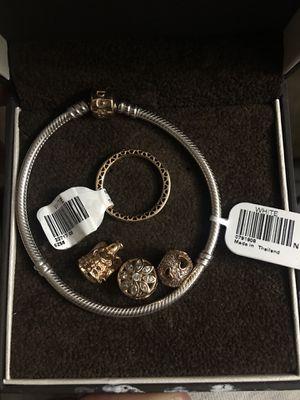14k two tone gold bracelet 14k charms and ring for Sale in Atlanta, GA
