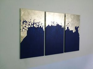 Gold and Navy Shimmering 3 piece home decor set for Sale in Smyrna, GA