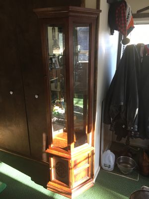 Beautiful solid wood curio cabinet three glass shelves with mirrored back and storage below with etched glass door lighted top and bottom, sits Flat for Sale in Varna, IL