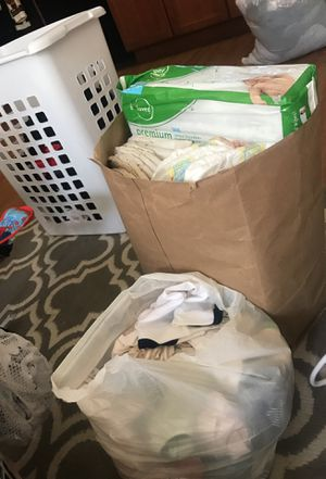Size 1 & 2 newborn diapers and newborn clothes for Sale in Austin, TX