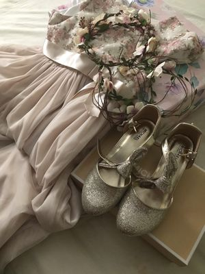 Flower girl dress n shoes...size 14 girls and size 4 shoes girls for Sale in Anaheim, CA