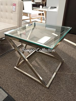 Coylin Glass End Table, Brushed Nickel, SKU# ASHT136-2TC for Sale in Santa Fe Springs, CA