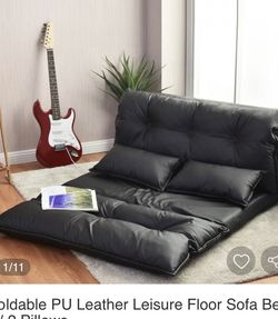 Foldable PU Leather Leisure Floor Sofa Bed w/ 2 Pillows for Sale in Fresno,  CA