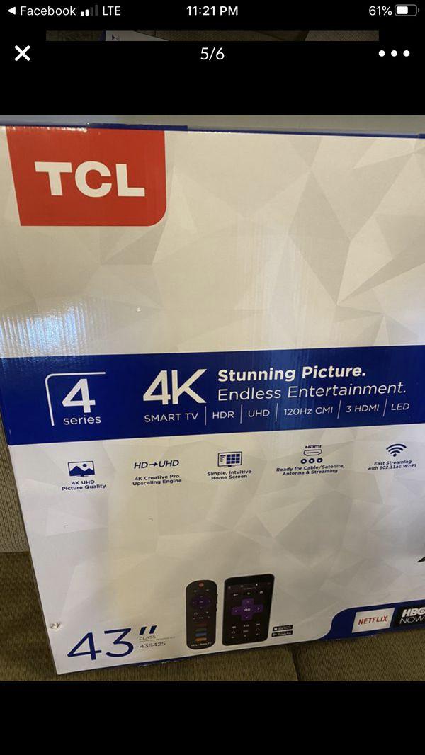 "tcl 43"" uhd roku smart tv"