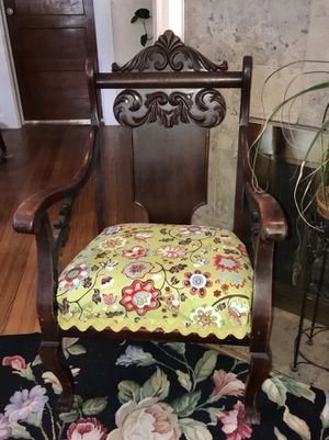 Antique chair, 1870's, new fabric, all original inside. for Sale in Denver, CO