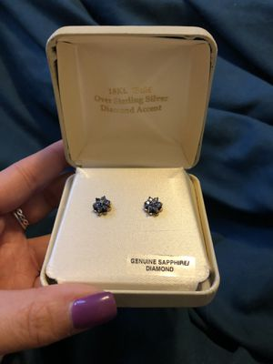 Sapphire and Diamond Earrings for Sale in Medford, MA