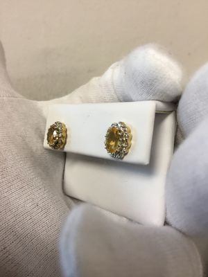 Synthetic topaz earrings with diamonds .05ctw 10k for Sale in South San Francisco, CA