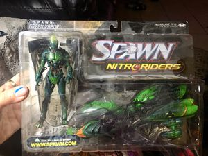 New 1999 McFarlane toys nitro riders action figures set of 4 - green vapor,eclipse5000, after burner & Flashpoint all in opened located off lake mead for Sale in Las Vegas, NV