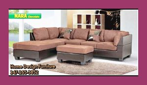 Brown microfiber sectional with Ottoman for Sale in Queens, NY