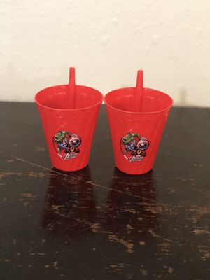 Set of 2 Kid's Red Plastic Marvel Avengers Assemble Cups with Straw Attached for Sale in Oakland Park, FL