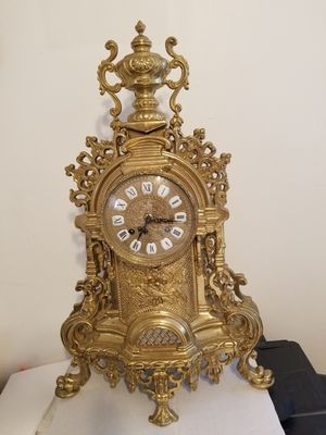 """VINTAGE FRANZ HERMLE & SON, GERMANY (VICTORIAN STYLE) SOLID HEAVY BRASS CLOCK, 24"""" TALL, FROM ESTATE SALE $1500. for Sale in Glen Allen, VA"""