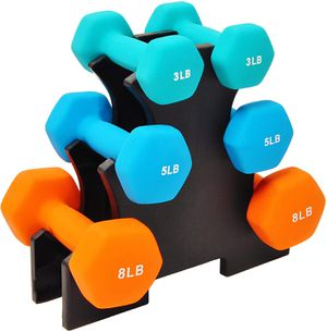 Brand New In Box 32 LB Vinyl Coated Dumbbell Set w/ Rack (Pairs of 3, 5, & 8 LB) for Sale in Glen Burnie, MD