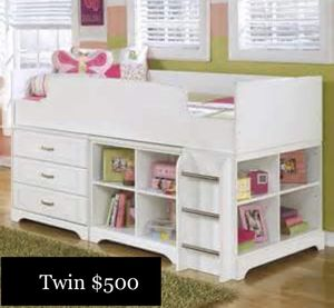 Twin loft bed white dresser bookshelves for Sale in Springfield, MO