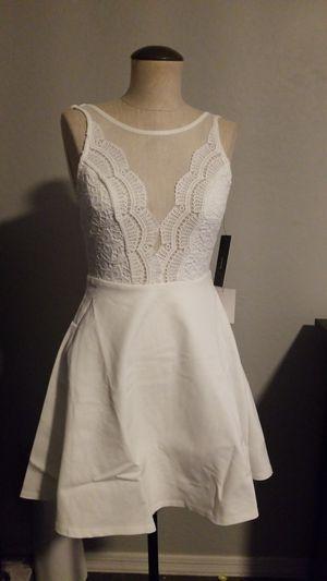 New Size S Small women's white skater dress sheer mesh crochet lace wedding bridal shower bachelorette party dancing dress for Sale in Gilbert, AZ