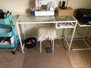 IKEA Glass desk with stool (Must go ASAP) for Sale in Miami, FL