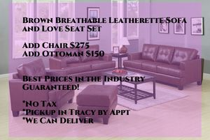 Brand New Brown Breathable Leatherette Sofa and Love Seat Set for Sale in Dublin, CA
