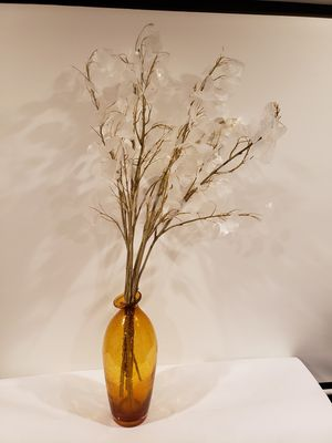 Burnt Orange Retro Glass vase/flower stems for Sale in Aurora, CO