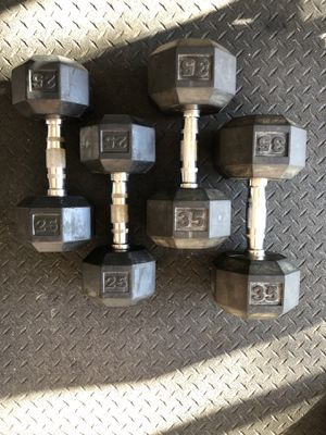 25lb & 35lb Rubber Dumbell Weight Pairs for Sale in Fort Worth, TX