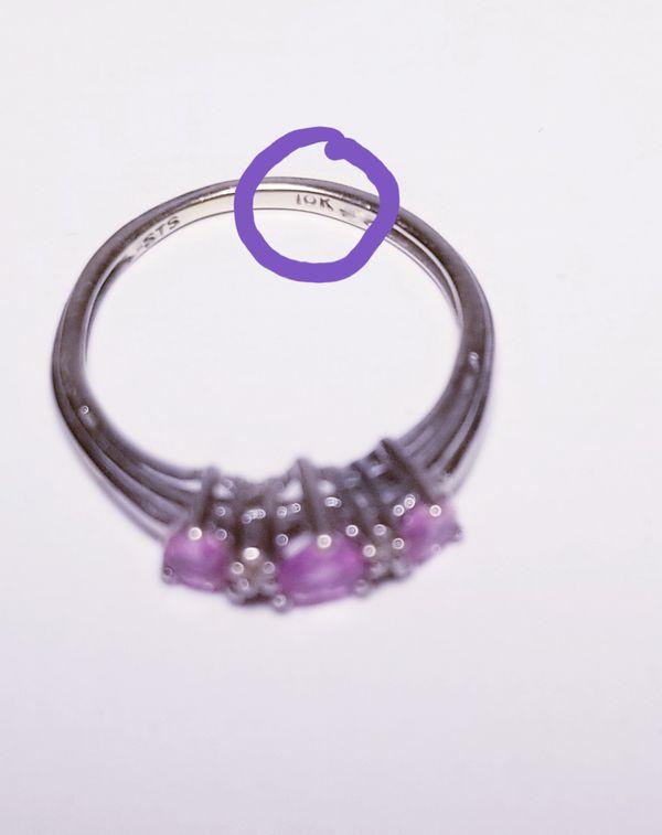 10k white gold diamond pink sapphire ring