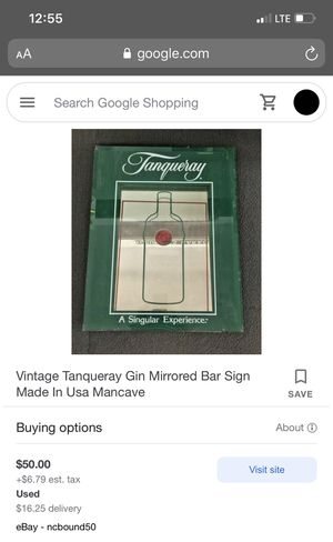 Antique Tanqueray Glass Mirrored Bar Sign for Sale in Los Angeles, CA