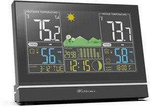Modern Weather Station with Clock, Time, Date, Moon Phase, Temperature, Humidity, and Pressure Measurement for Sale in Chatsworth, CA