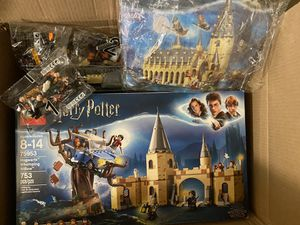 3 UnBranded Harry Potter LEGO Set Bundle. Great Hall + Whomping Willow (Connecting Sets) + Hogwarts Express Train! + LEGO Gift Bag / Wrap/ Sticker Set for Sale in Culver City, CA