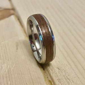 Stainless Steel Wedding Ring, Wedding Band, Anniversary Ring, Wood Inlay for Sale in Lewisville, NC